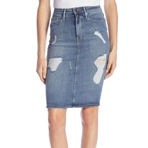 Good American Destroyed Denim Pencil Skirt 12/31